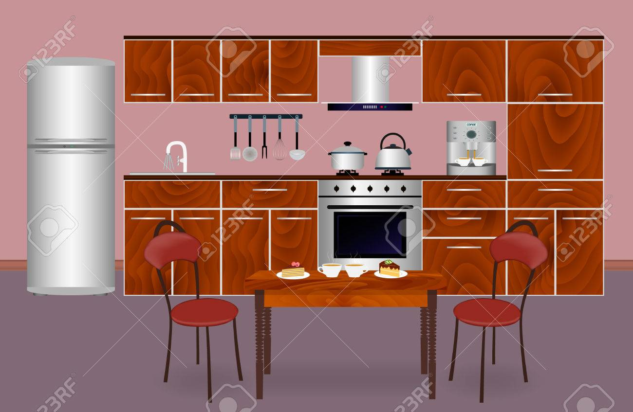 wooden kitchen interior banner for your web design housewife