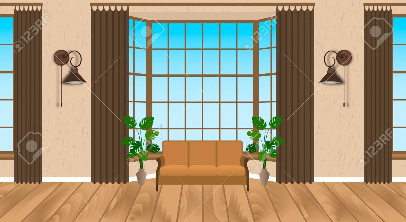 Salon Design Intérieur Moderne. Loft Lumineux Avec Parquet, Canapé ...