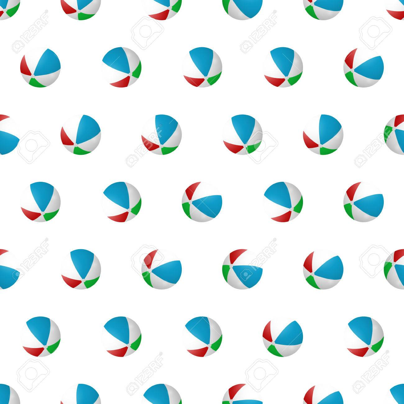 f83b0d6d20963 Seamless pattern summer beach ball background with template in swatches for your  convenience. Easy to