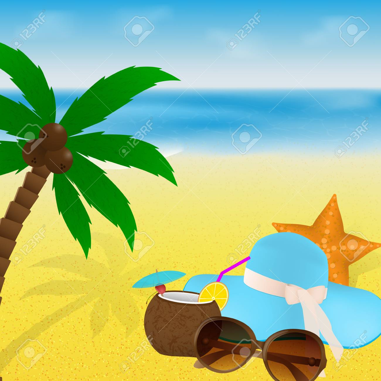85ed5cd39dc Summer greeting card design. Vector illustration. Summertime vacation beach  with sunglasses