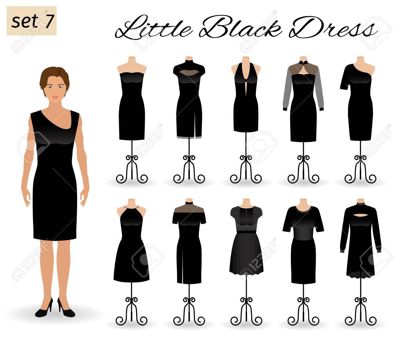 2b87637159c Banque d images - Personnage modèle de femme vêtu d une petite robe noire.  Ensemble de robes de cocktail sur mannequins. Illustration vectorielle  plate.
