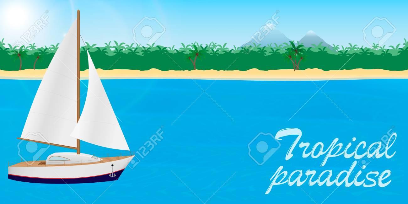 熱帯の楽園のバナーやデスクトップの壁紙への夏旅行 レタリングと熱帯