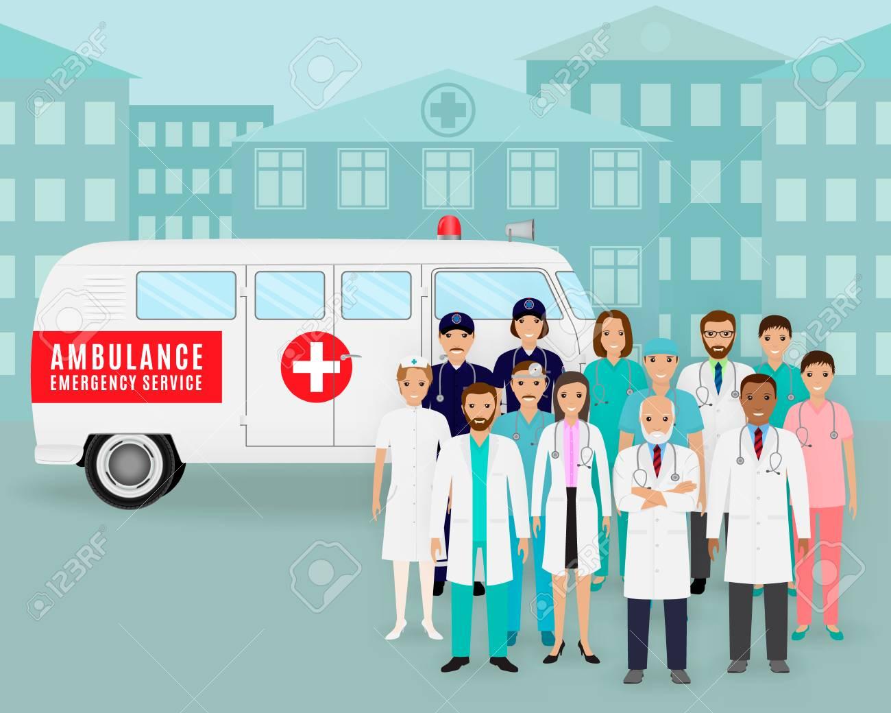 医療チームは.医師やレトロな救急車の背景に看護師のグループです ...