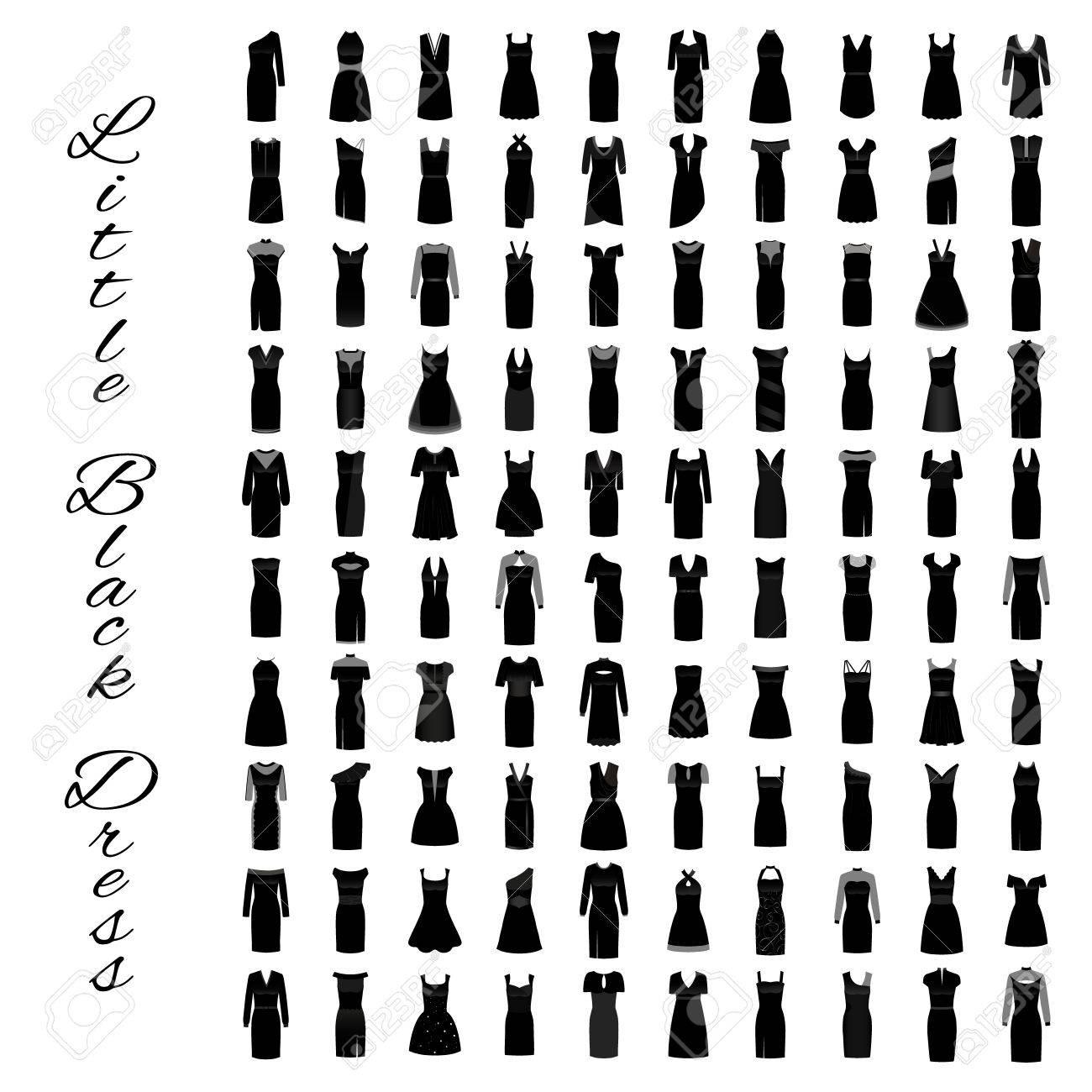 Mode Kleine Schwarze Kleider. Große Kollektion Von 100 Abendkleidern ...