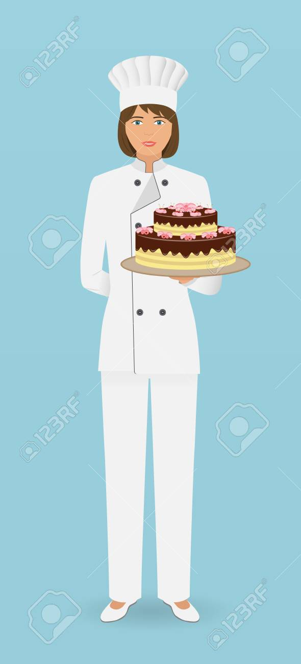 Woman Confectioner Character Standing In Uniform With A Gorgeous
