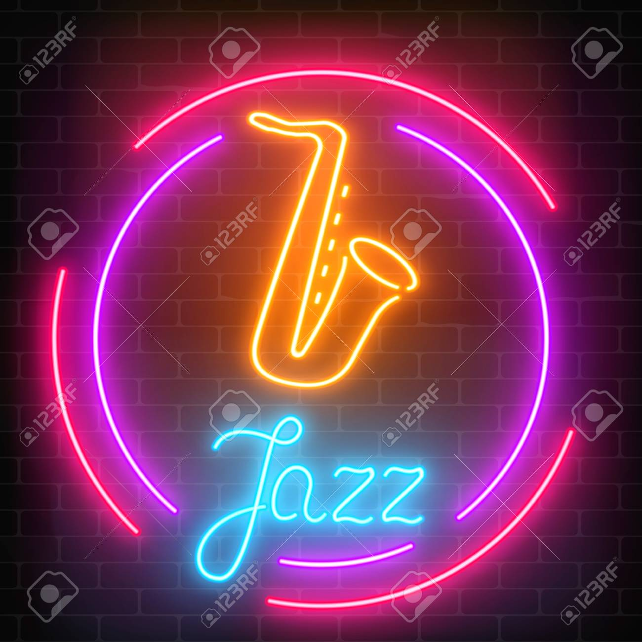 Neon jazz cafe with saxophone glowing sign with round frame on a dark brick wall background. Glowing street signboard of bar with karaoke and blues singers. Vector illustration. - 92144337