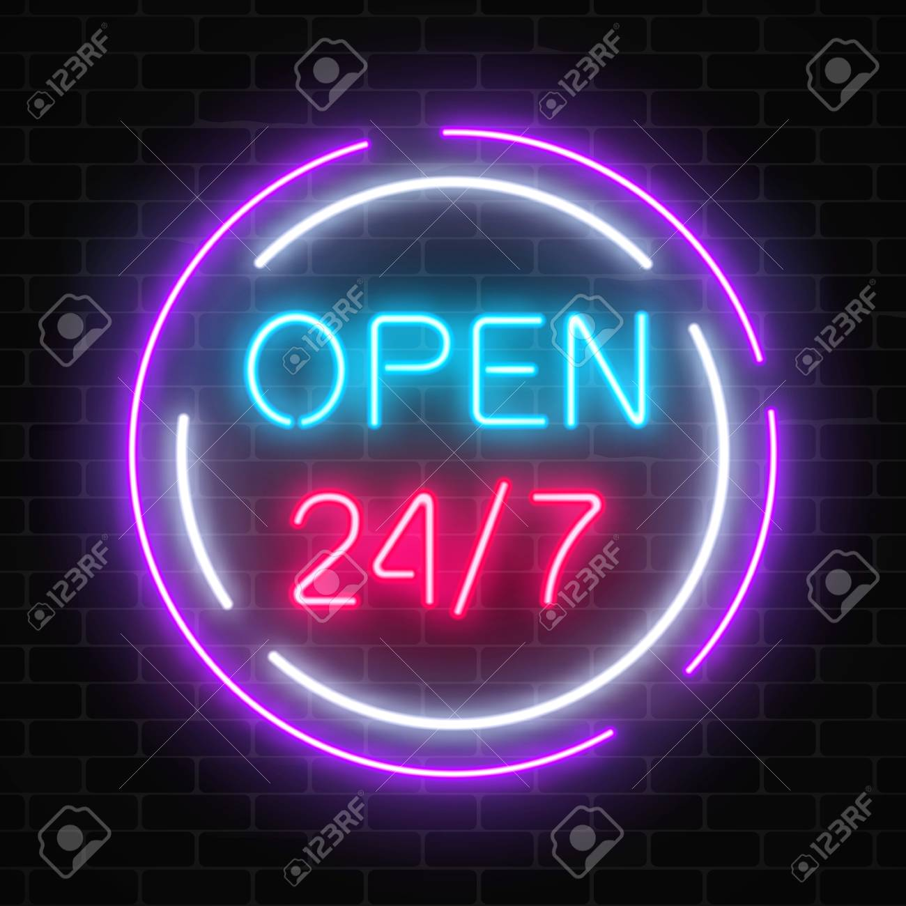 neon open 24 hours 7 days a week sign in circle shaps on a brick