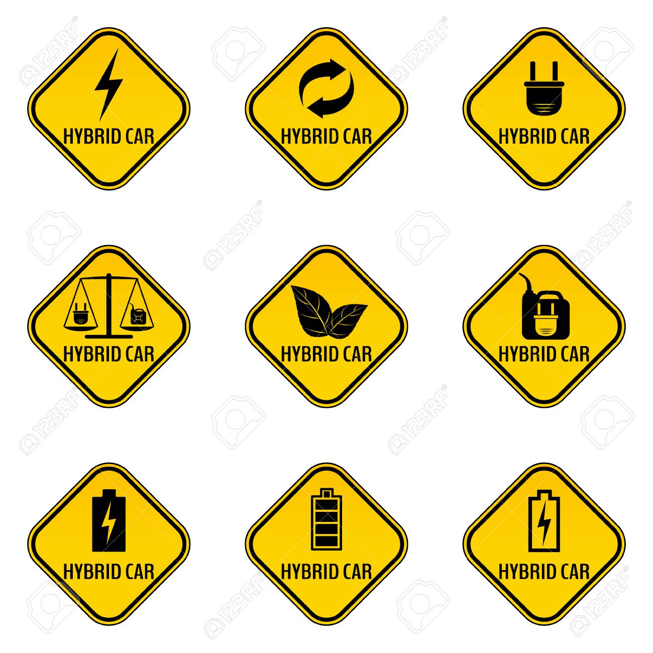Set Of Hybrid Car Caution Stickers Save Energy Automobile Warning