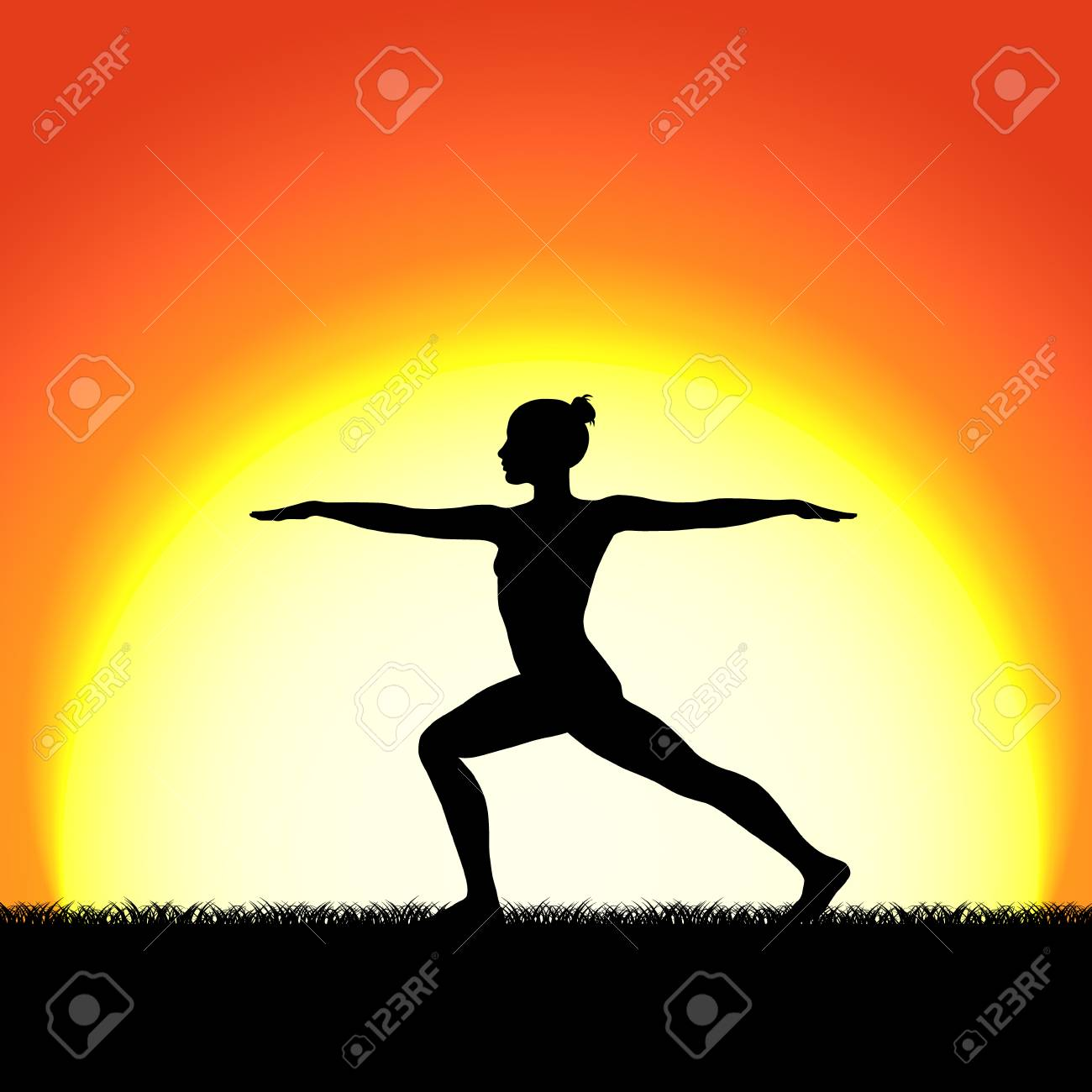 Yoga Pose In Black Silhouette On Sunset Background Royalty Free