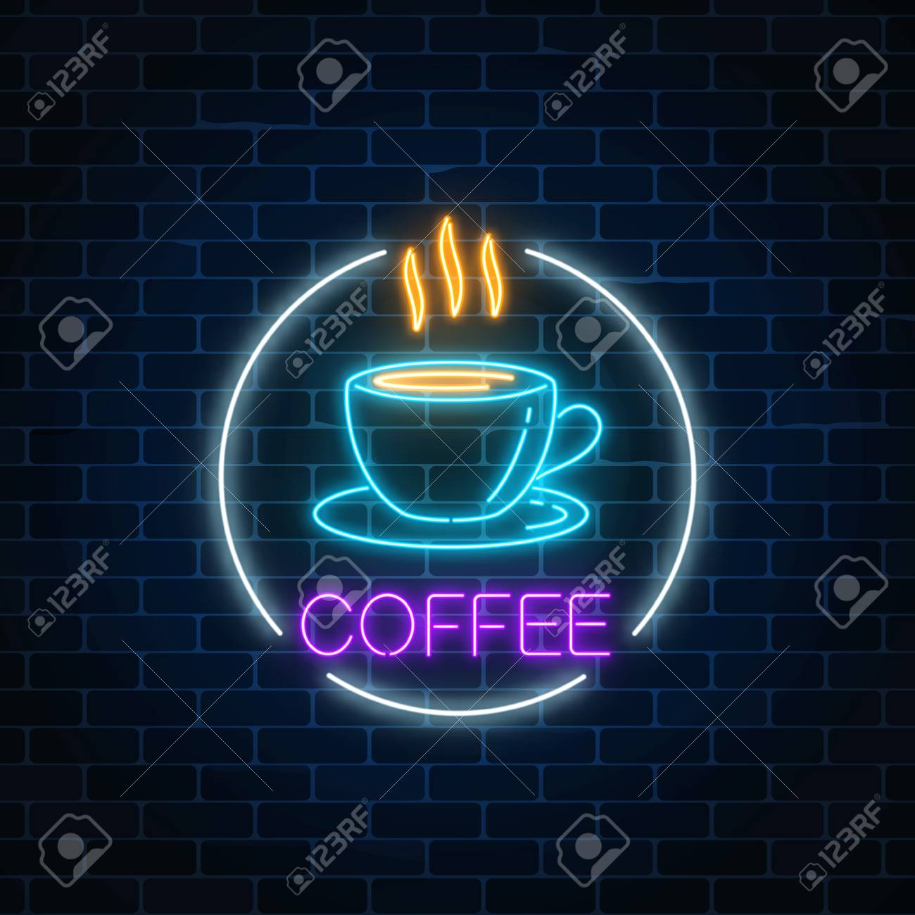 Neon Glowing Sign Of Hot Coffee Cup In Circle Frame On A Dark ...