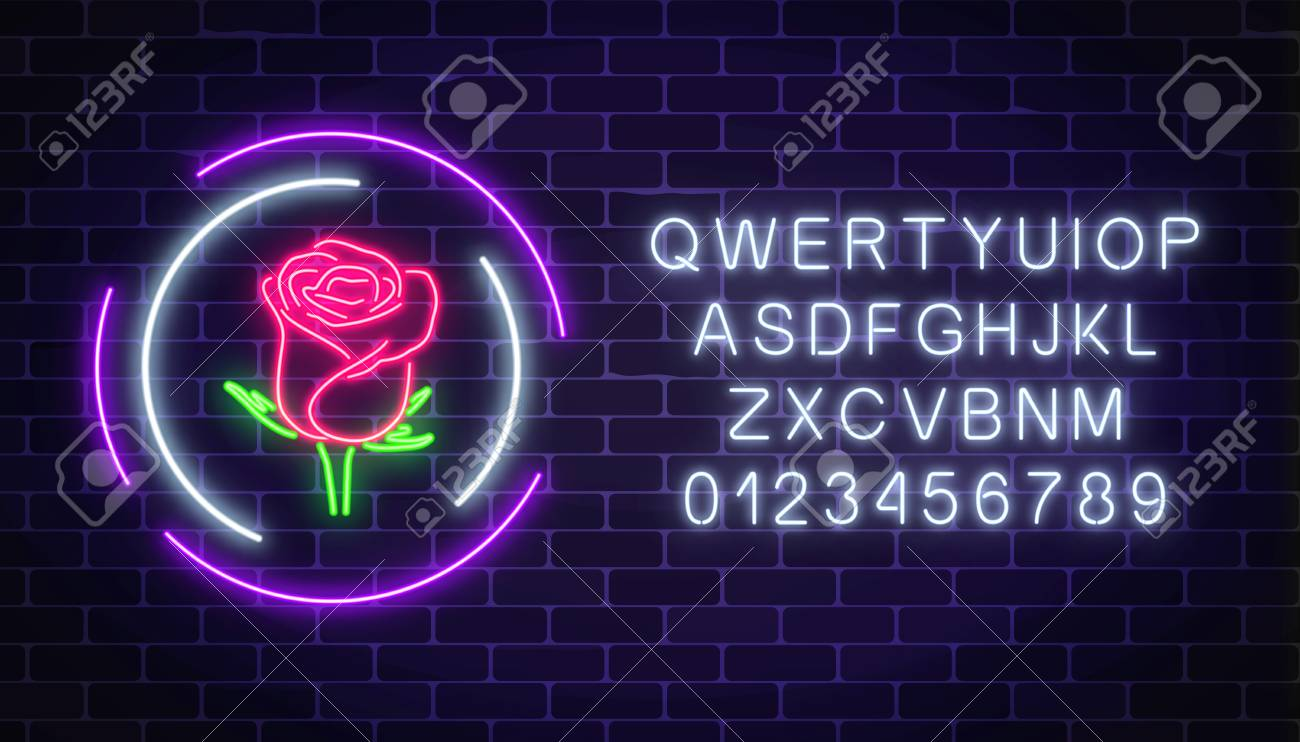 Glowing Rose Neon Sign Of Flower Shop In Round Frames With Alphabet