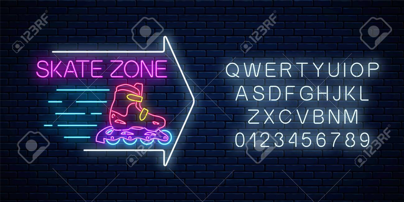 Skate zone glowing neon sign with guide arrow and alphabet on dark brick wall background. Roller skates rental symbol in neon style. Vector illustration. - 124400743