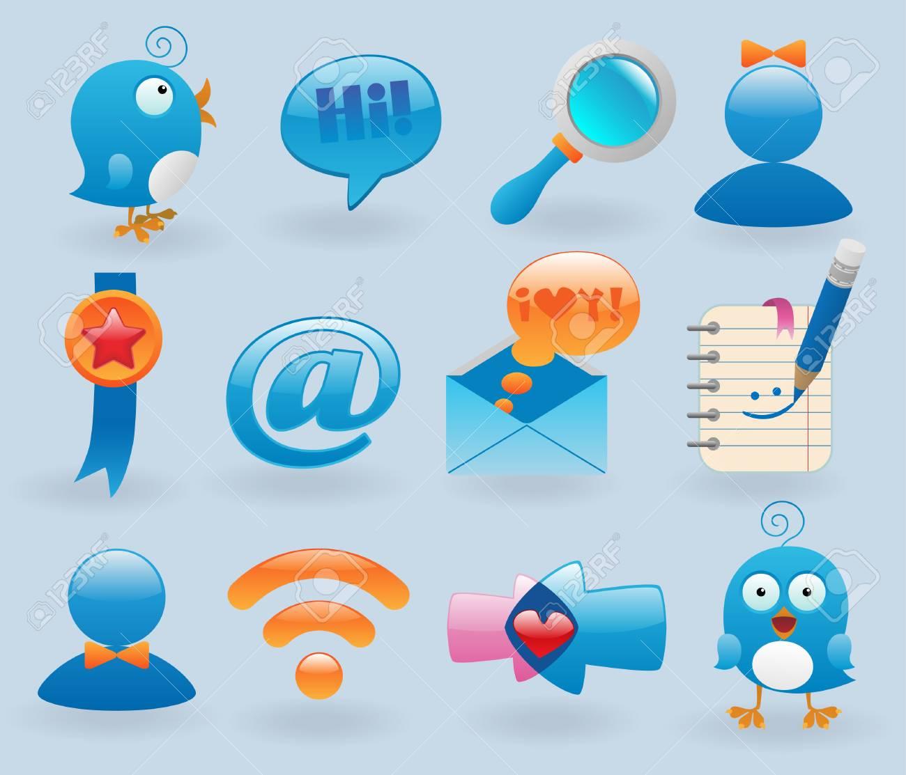 social media icons set Stock Vector - 8544088
