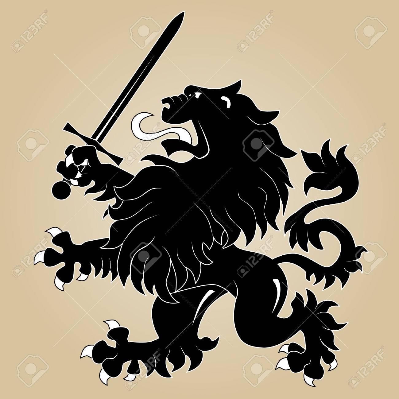 Heraldic lion with sword Stock Vector - 8544047