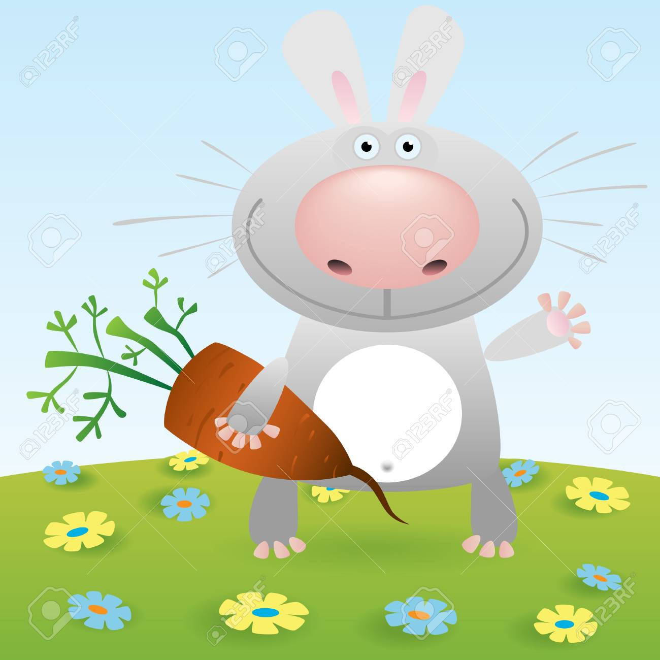 Little rabbit with carrot Stock Vector - 9044509