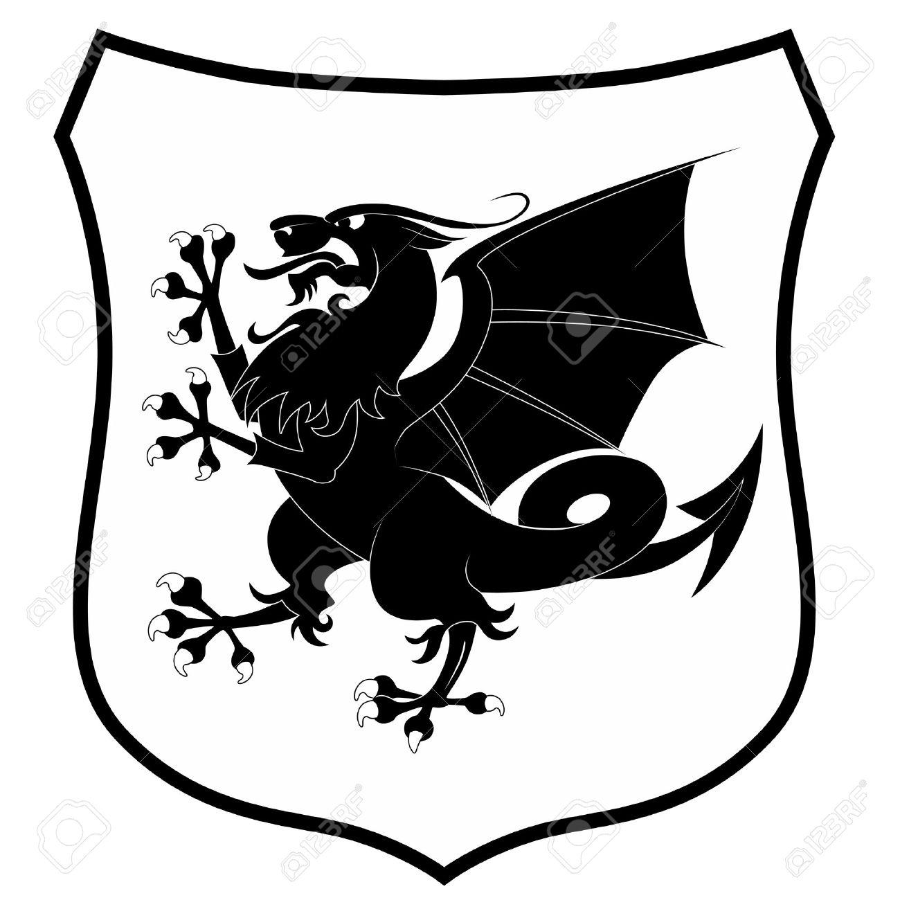 Heraldic dragon isolated on white background - 10289848