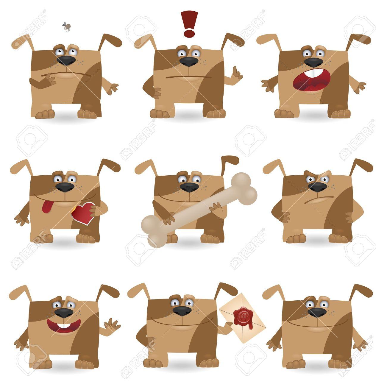 Funny cartoon dog set Stock Vector - 12302192