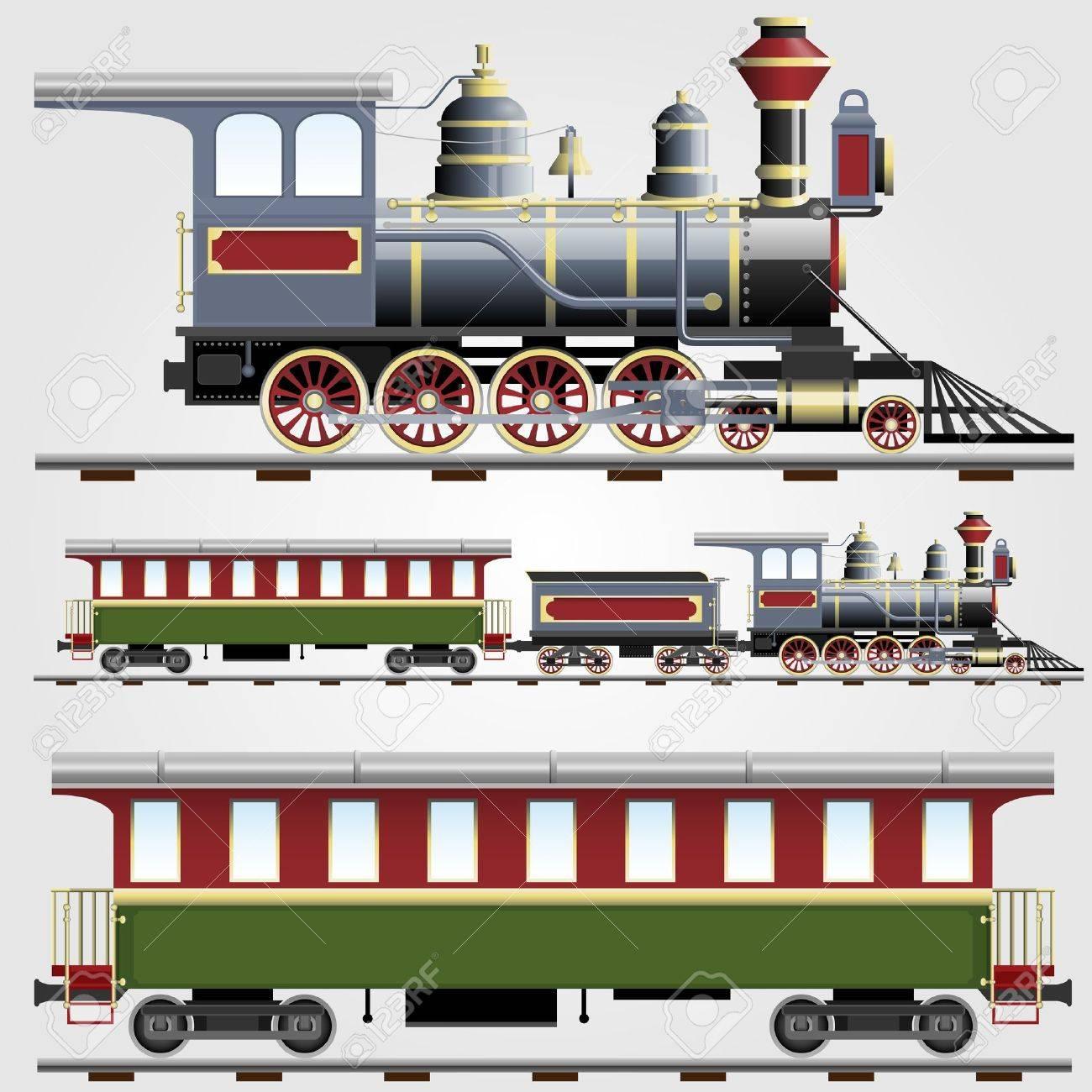 Retro steam train with coach Stock Vector - 12302191
