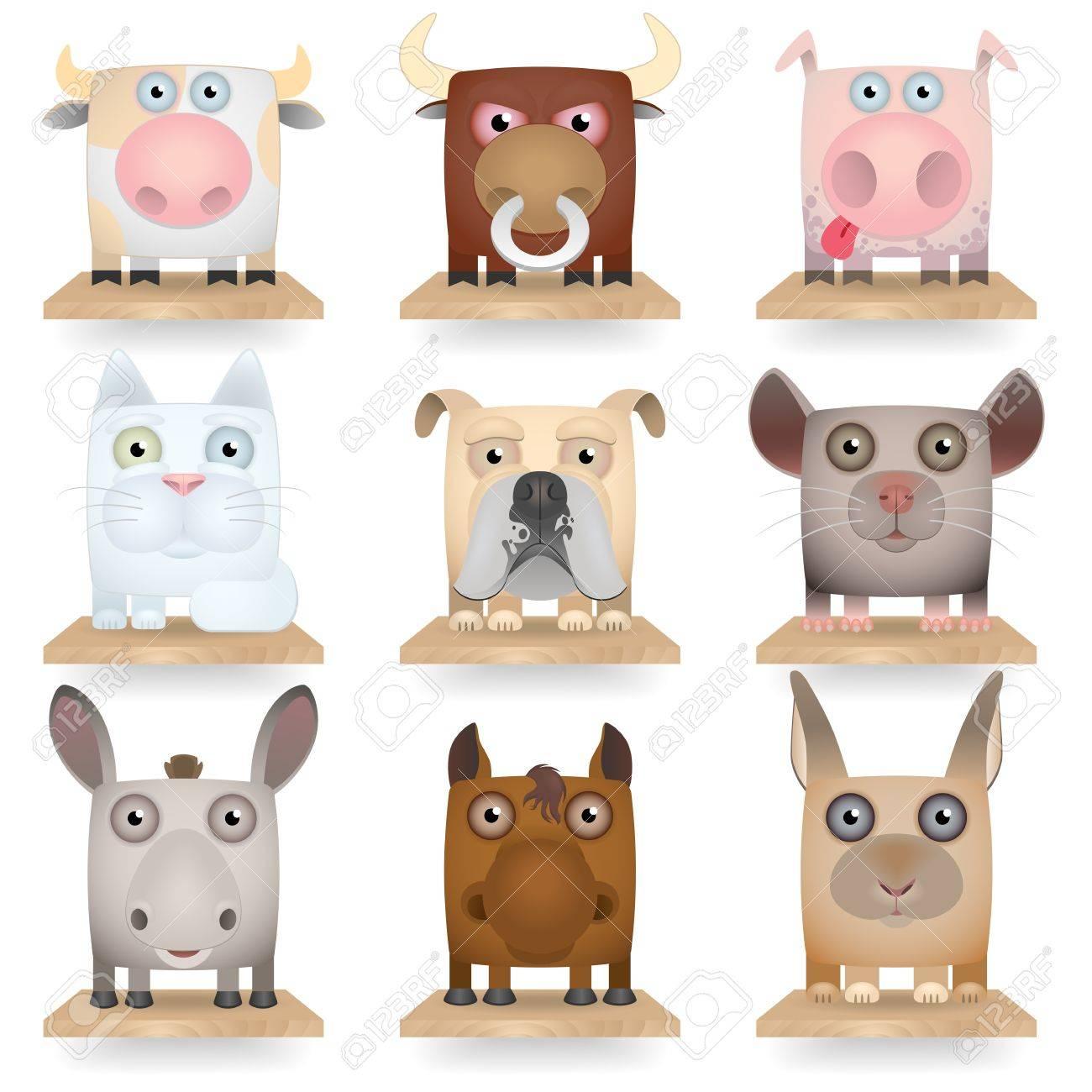 Domestic animals icon set Stock Vector - 17356869