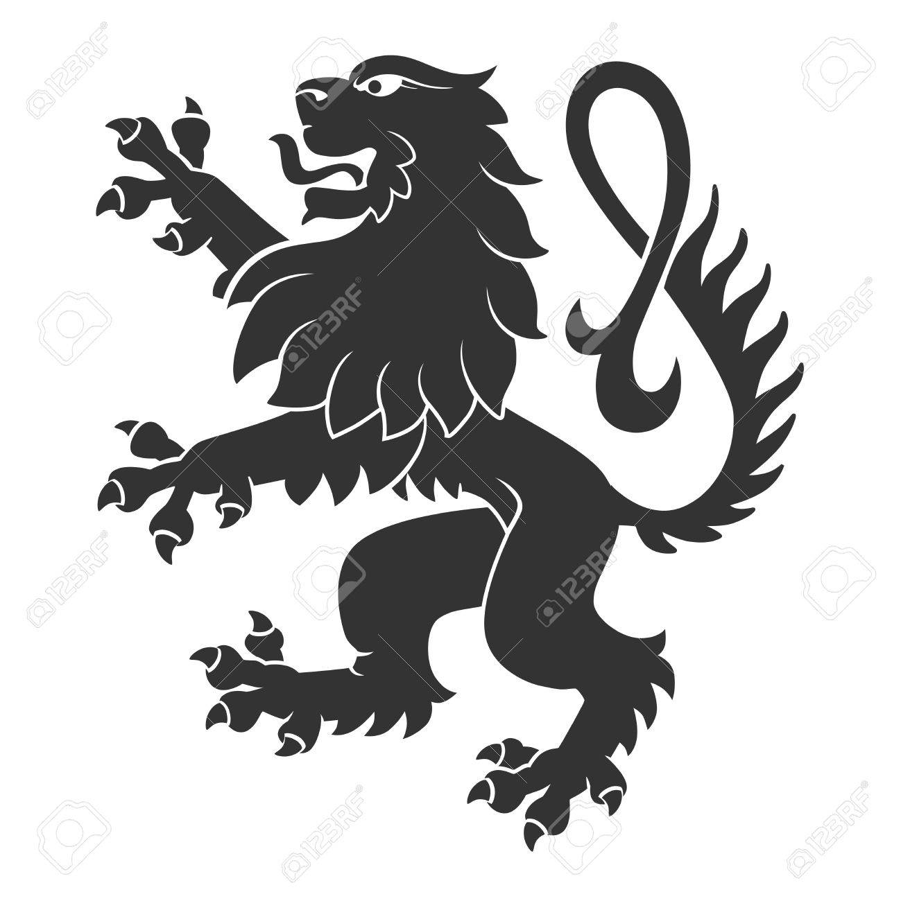 Black Standing Lion For Heraldry Or Tattoo Design Isolated On