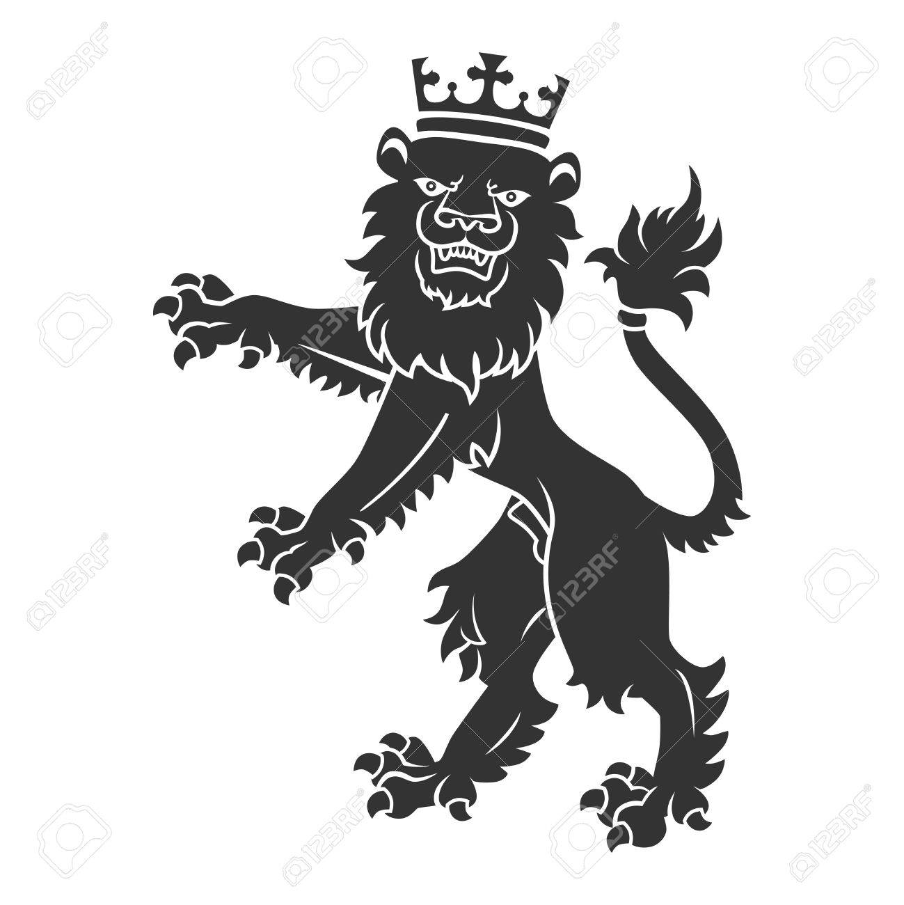 Black Standing Lion With Crown For Heraldry Or Tattoo Design