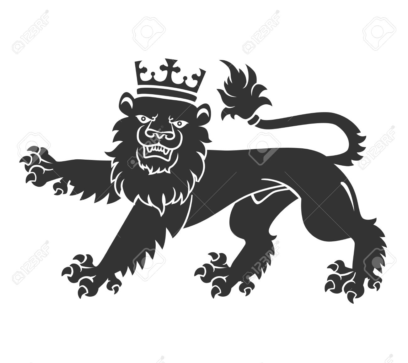 Black Lion With Crown For Heraldry Or Tattoo Design Isolated