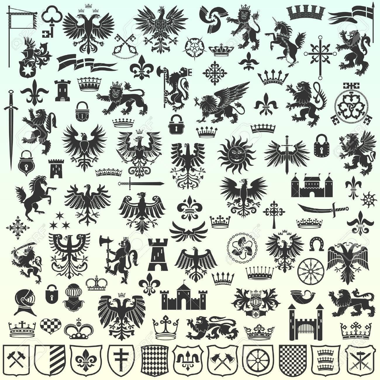 Silhouettes Of Heraldic Design Elements - 50874811