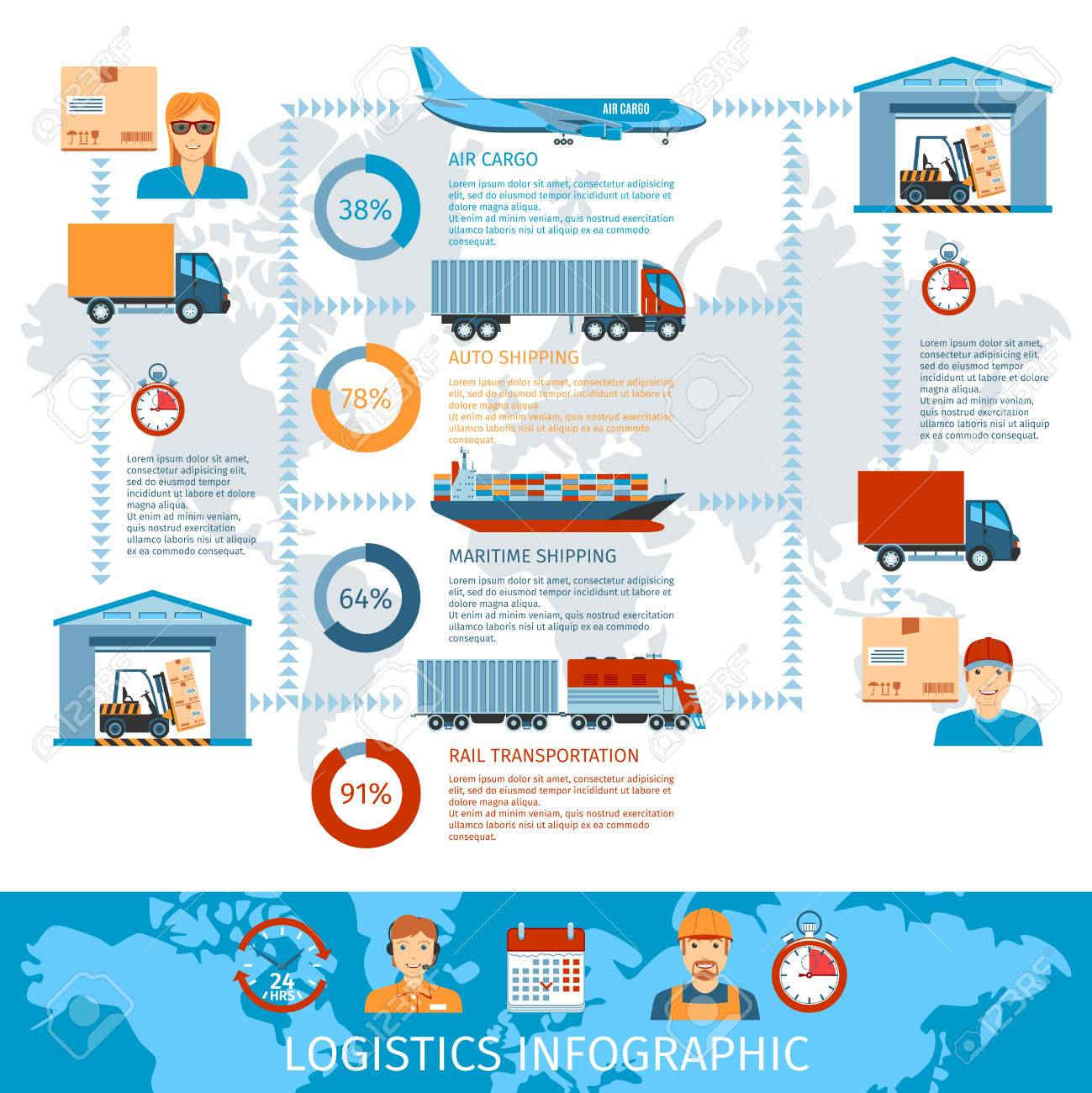 Logistic And Transportation Infographics With Transport System