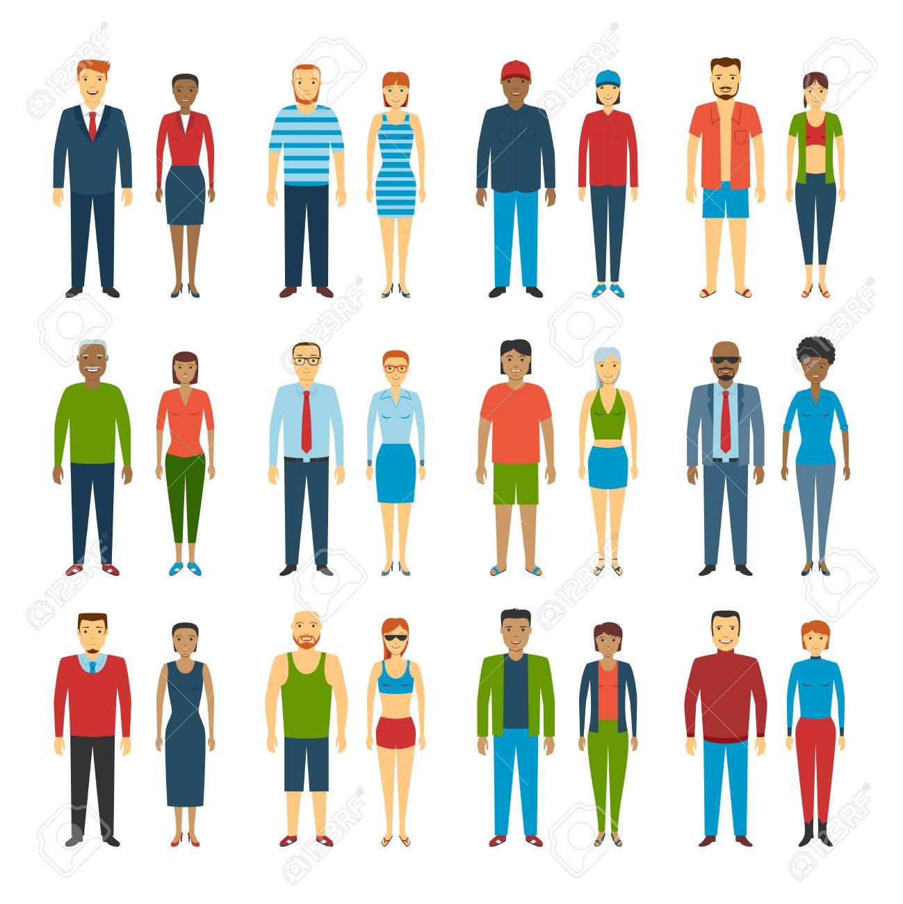 conjunto de personas de pie en el fondo blanco diferentes estilos