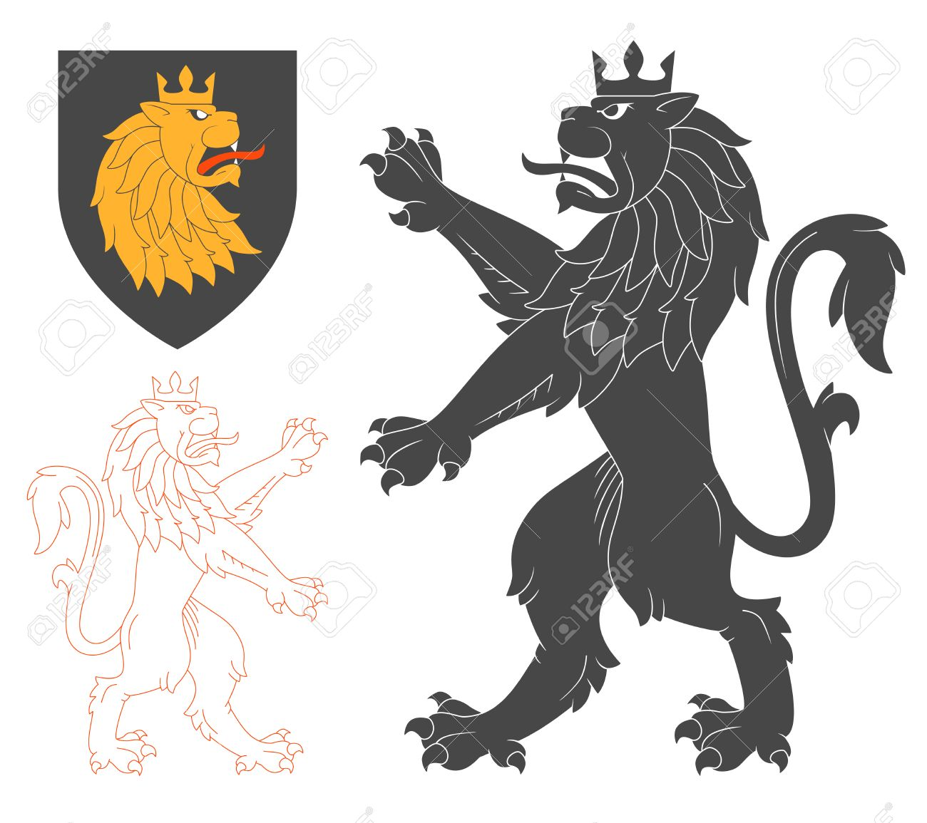 153 lion rampant cliparts stock vector and royalty free lion black lion illustration for heraldry or tattoo design isolated on white background heraldic symbols and biocorpaavc Gallery