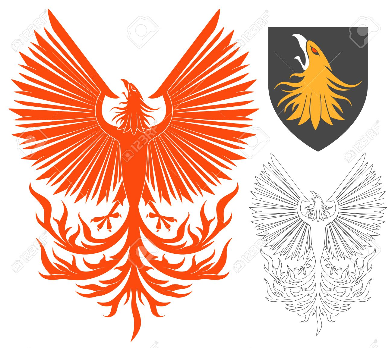 red soaring phoenix bird illustration for heraldry or tattoo