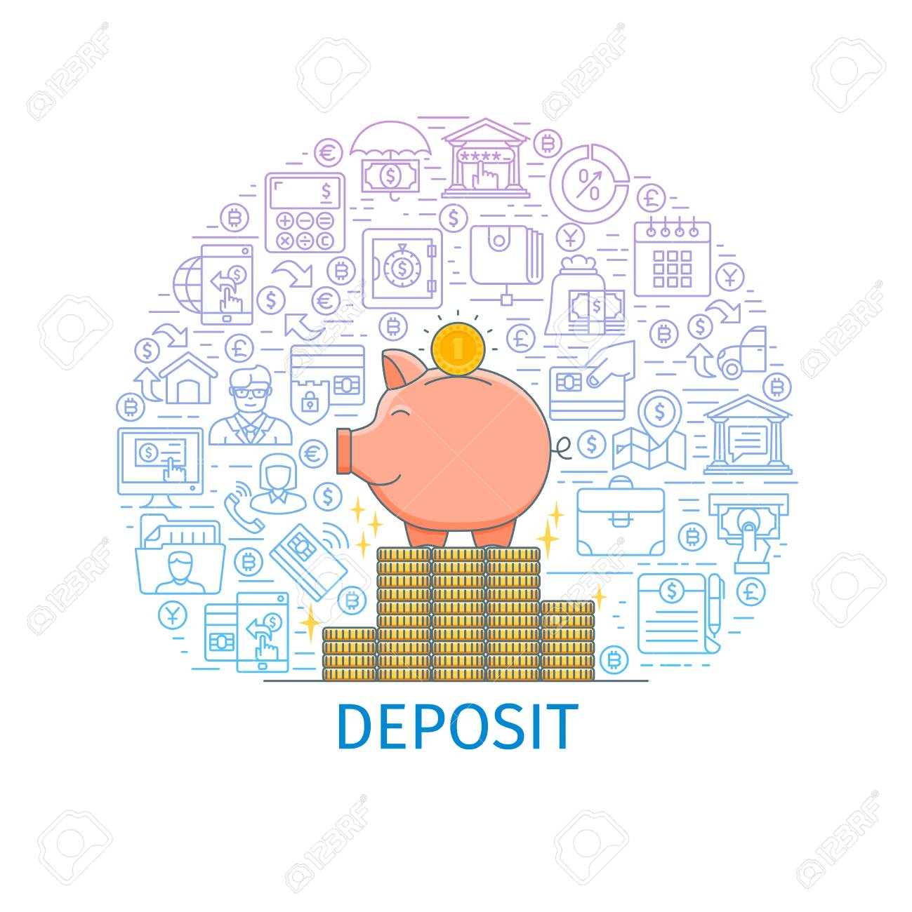 Bank Deposit Concept. Design Template With Flat Line Icons On ...