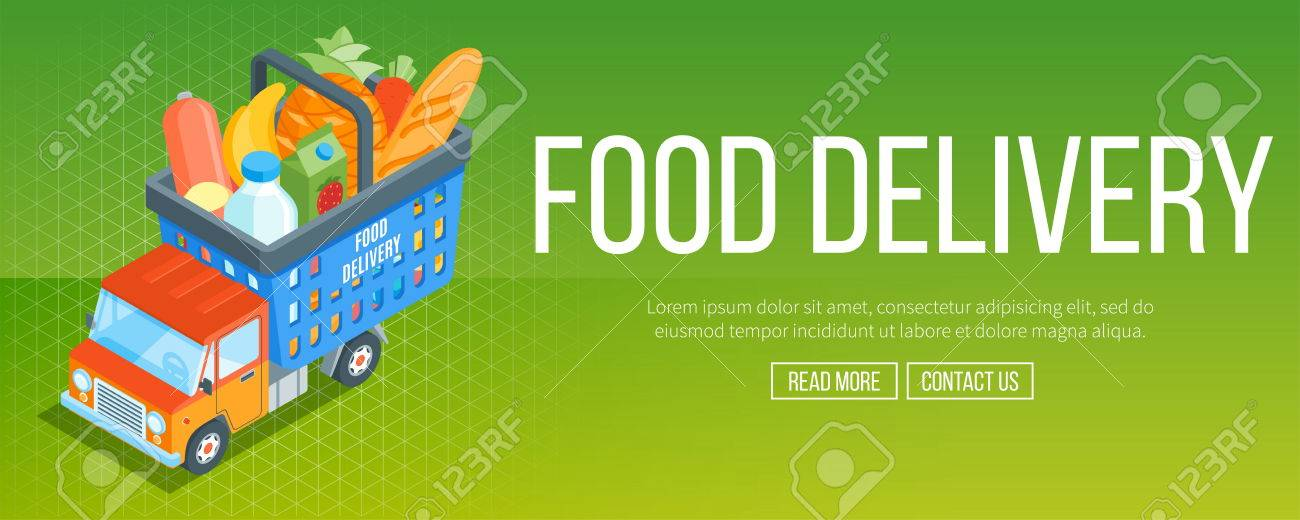 Food delivery service banner  Truck with a shopping basket  Isometric