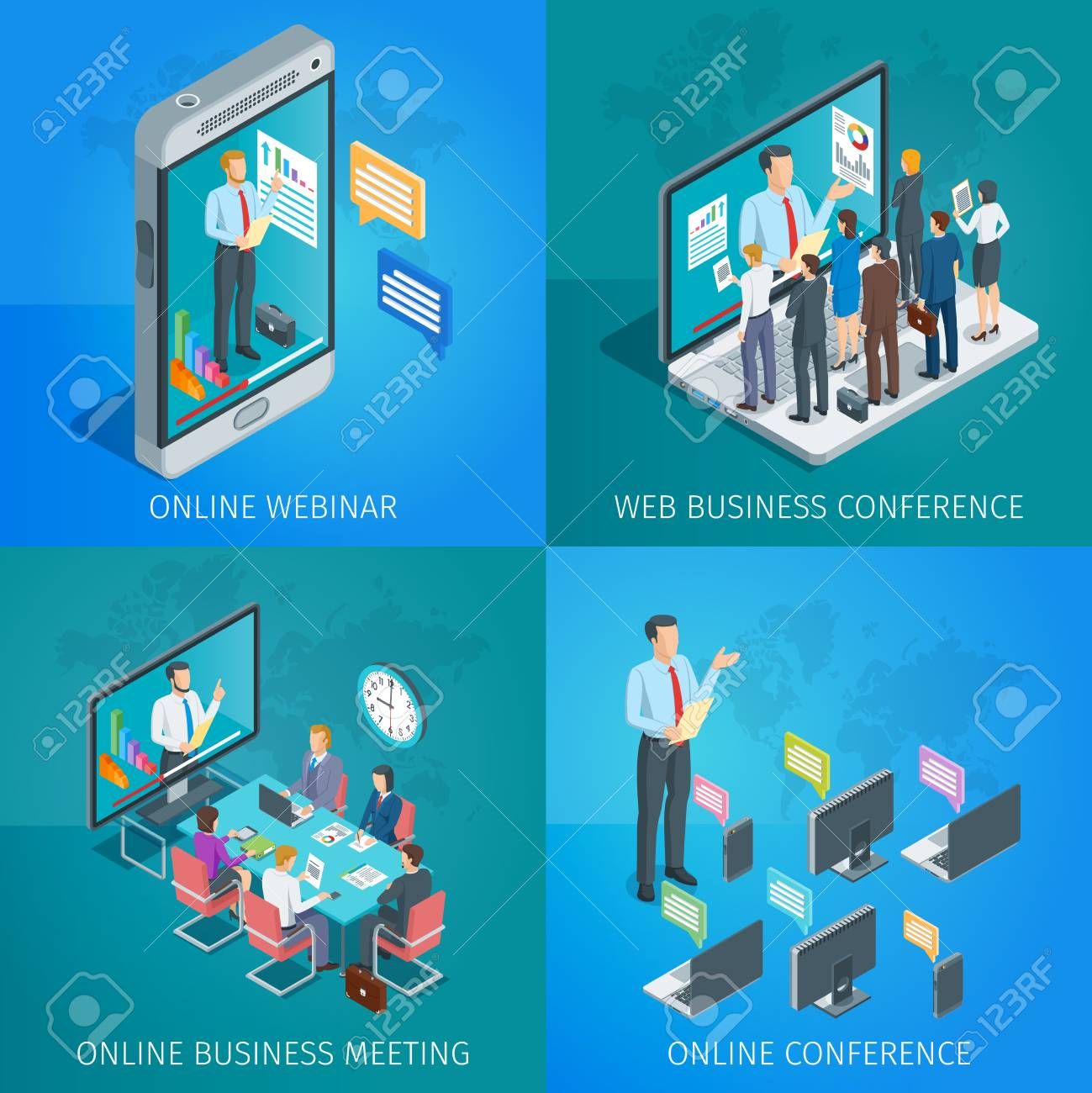 set of isometric banners on theme online business conference