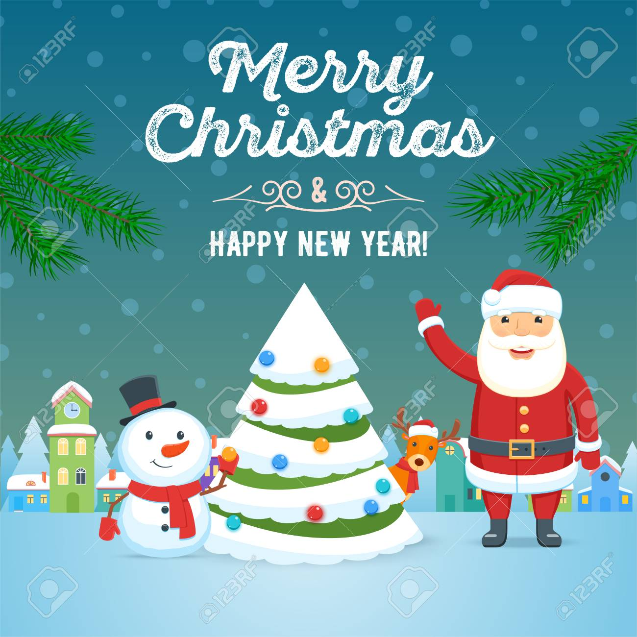 Santa Claus Snowman And Christmas Tree On Town Background Christmas Royalty Free Cliparts Vectors And Stock Illustration Image 110269572