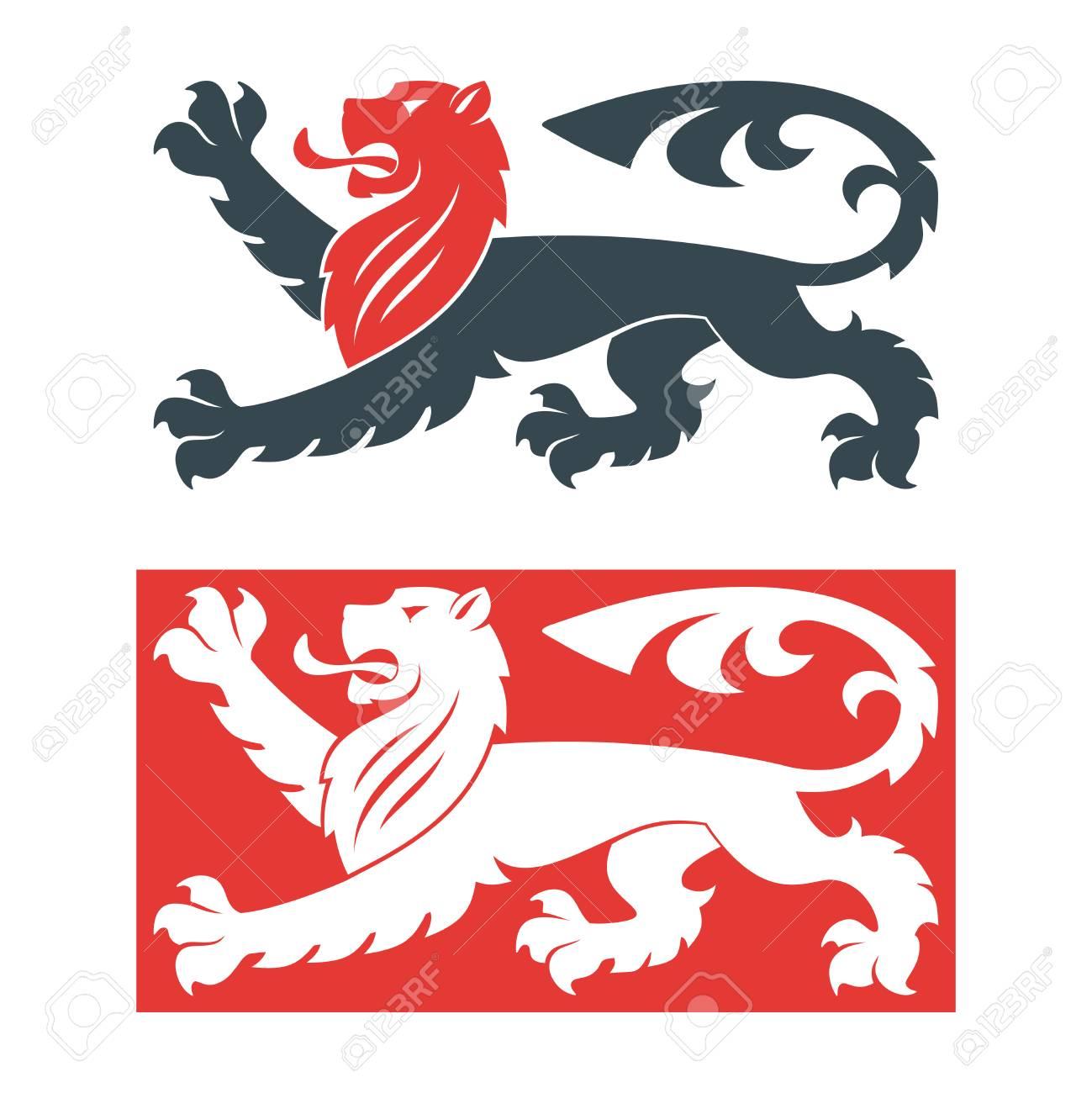 Vector Illustration Of Black Lions For Heraldry Or Tattoo Vintage