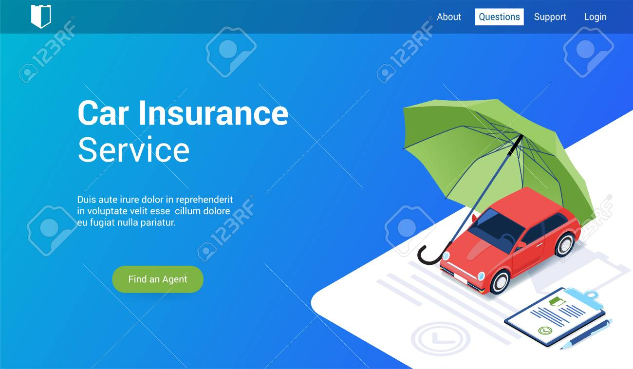 Isometric landing page template for car insurance. Vector illustration mock-up for website and mobile website - 125887992