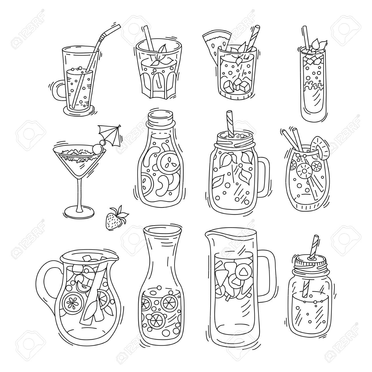 Vector set of drinks - fruit infused water, detox water for clean,
