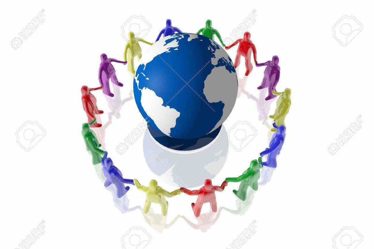 People of different colors surrounding an earth globe Stock Photo - 19484762