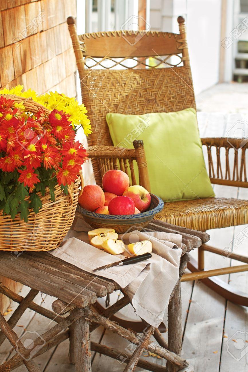 Amazing Closeup Of Country Porch Outdoors With Apple Still Life On Rustic Inzonedesignstudio Interior Chair Design Inzonedesignstudiocom