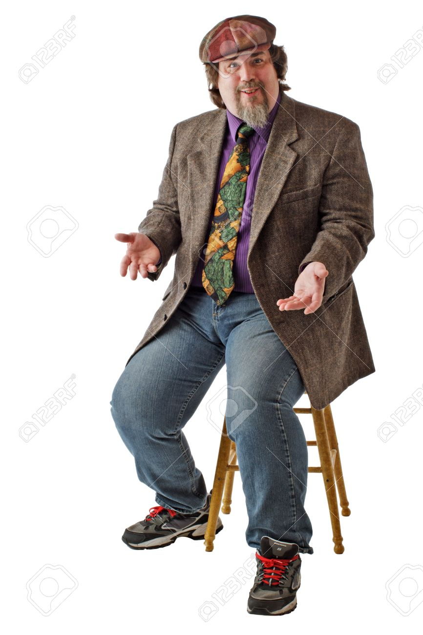 Man with large build sits on stool, dressed casually in tweed cap, jacket and jeans. He shrugs with palms up. Vertical, isolated on white background, copy space. Stock Photo - 14570218