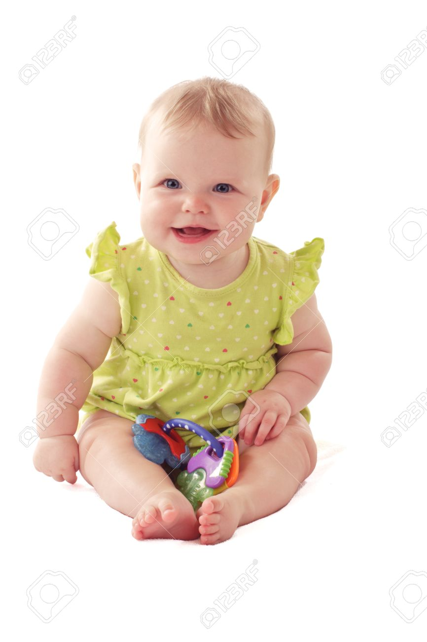 7db30e1ea4d6 Laughing 6 Month Old Baby Girl With Big Blue Eyes And Ruffled ...