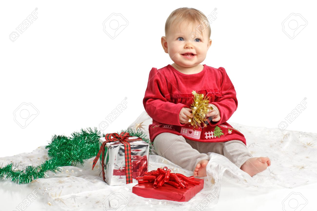 696628ba7de1 Smiling Baby Girl In Red Velvet Dress And Gray Stretch Pants.. Stock ...