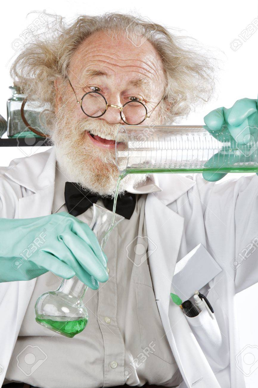 Death is only the beginning 16963227-Cheerful-mad-senior-scientist-in-lab-measures-green-liquid-in-beaker-Closeup-frizzy-grey-hair-round--Stock-Photo