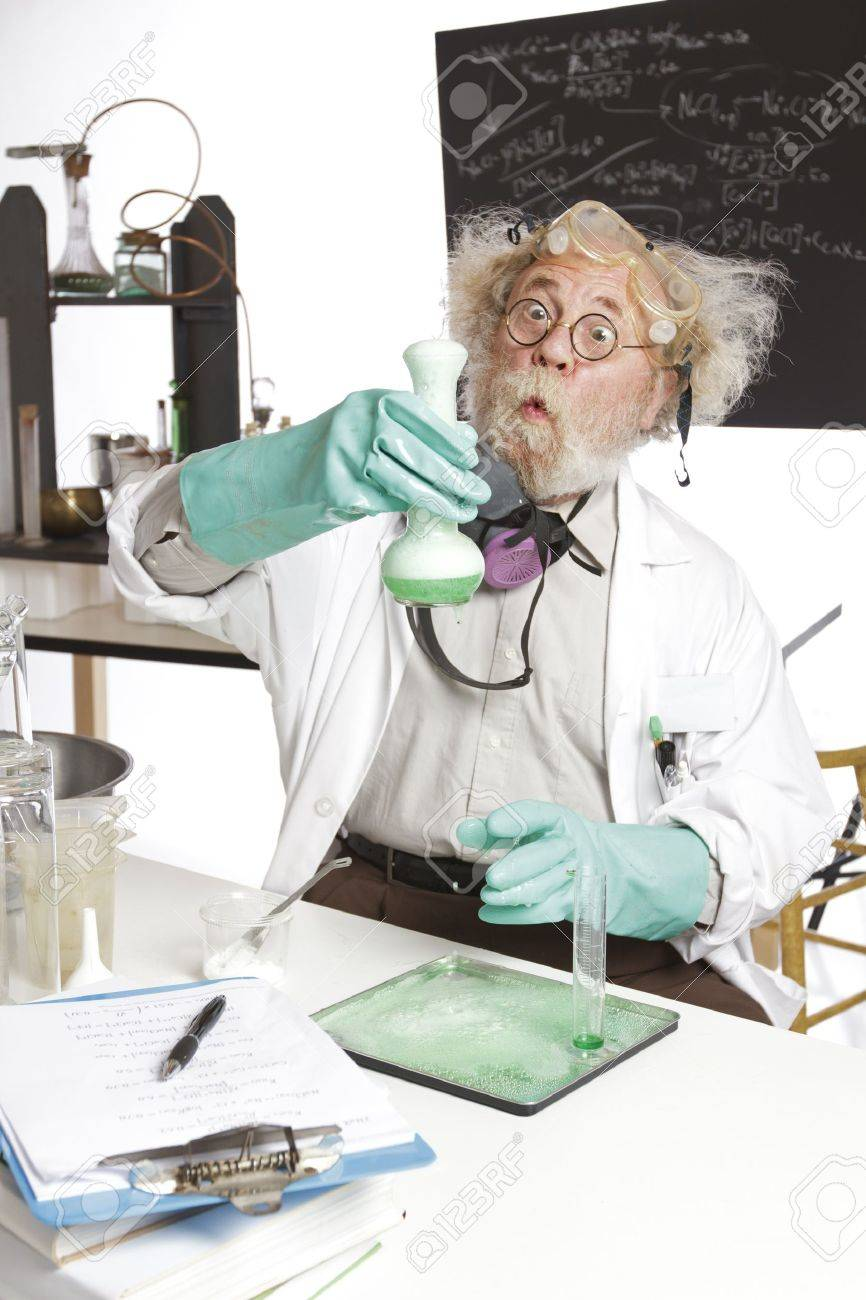 Amazed mad senior scientist in lab reacts to foaming green liquid overflowing beaker  Frizzy grey hair, round glasses, lab coat, aqua rubber gloves, blank blackboard, vertical, high key, copy space Stock Photo - 16963042
