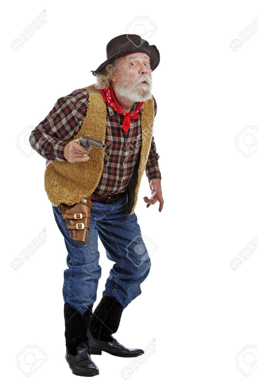 classic old west worried cowboy with felt hat grey whiskers