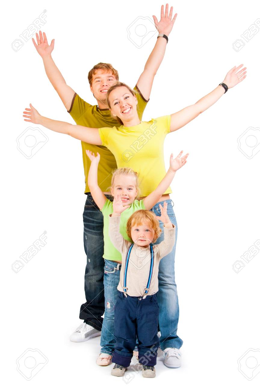 family with childrens on a white background Stock Photo - 10799500