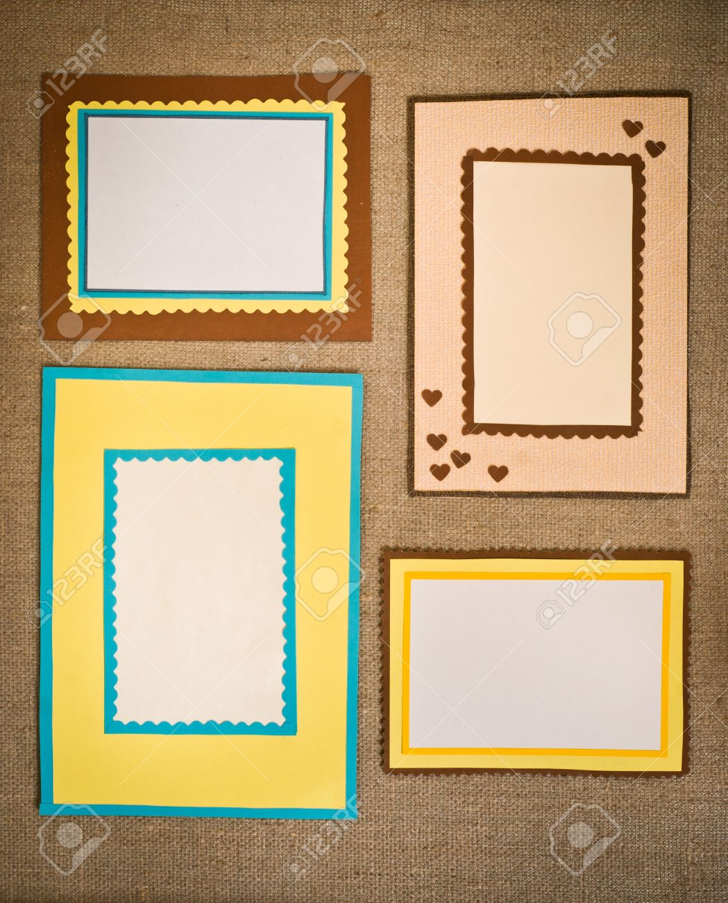 the four frames of colored paper stock photo picture and royalty