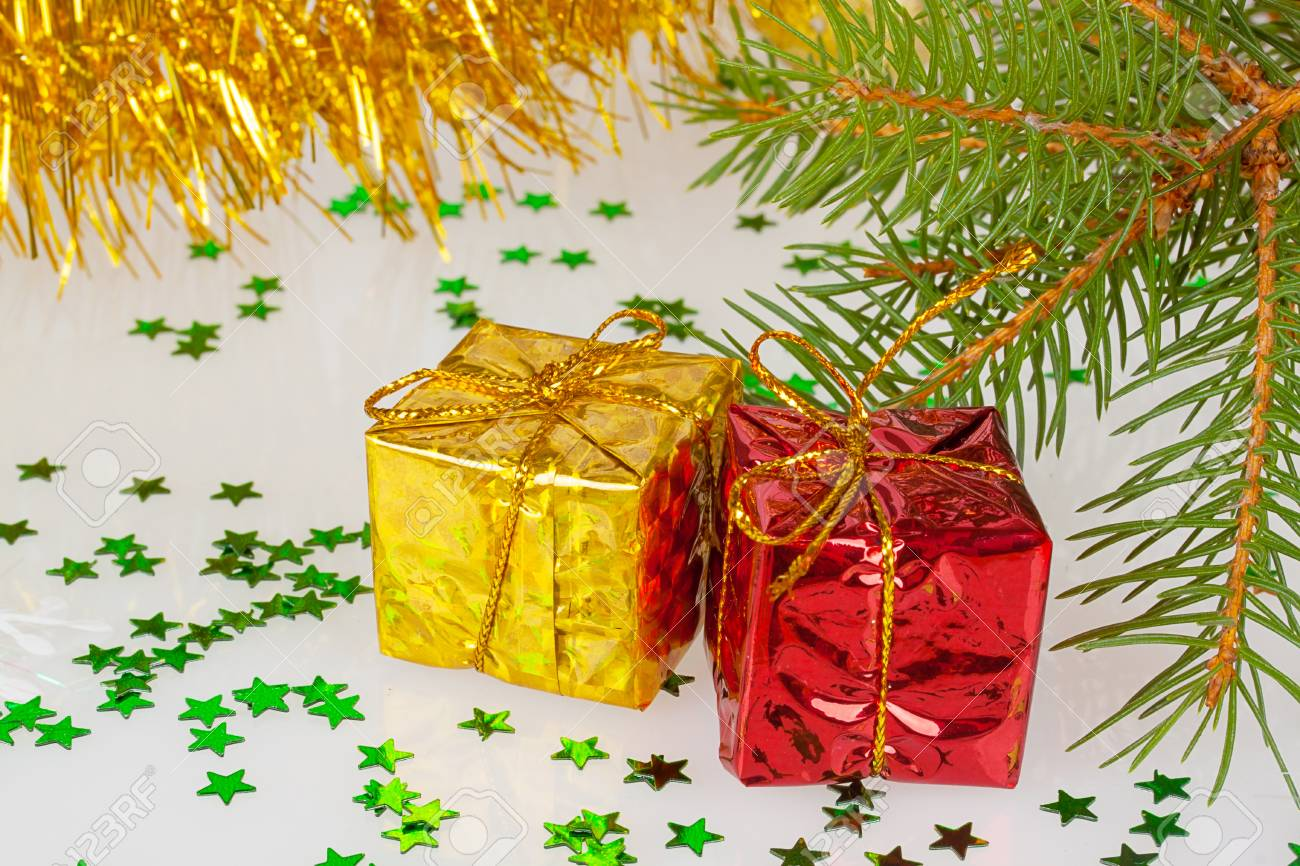 Two Christmas Gifts Under The Tree Stock Photo, Picture And Royalty ...