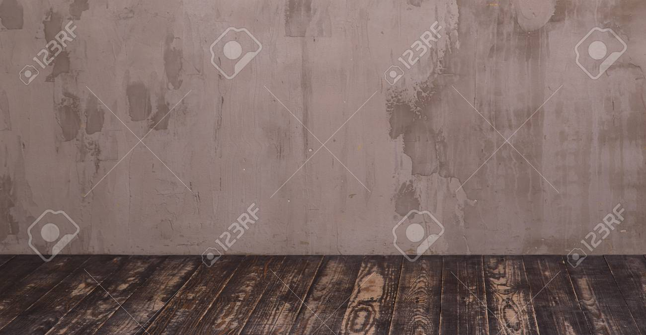 Innenraum Mit Grauen Dekorputz Wand Und Dunkler Holzboden